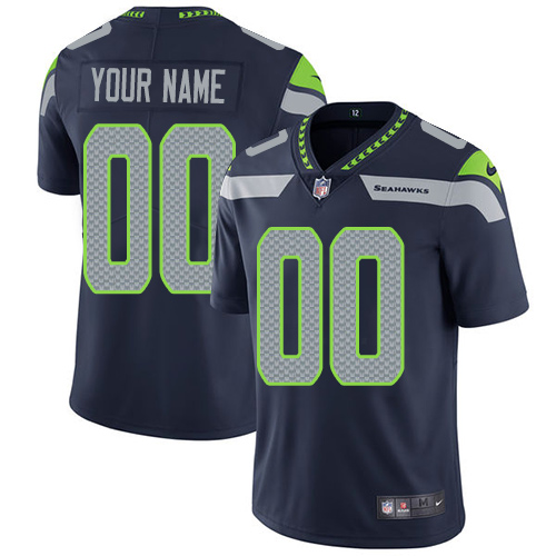 Nike Sehawks Navy Men's Customized Vapor Untouchable Player Limited Jersey