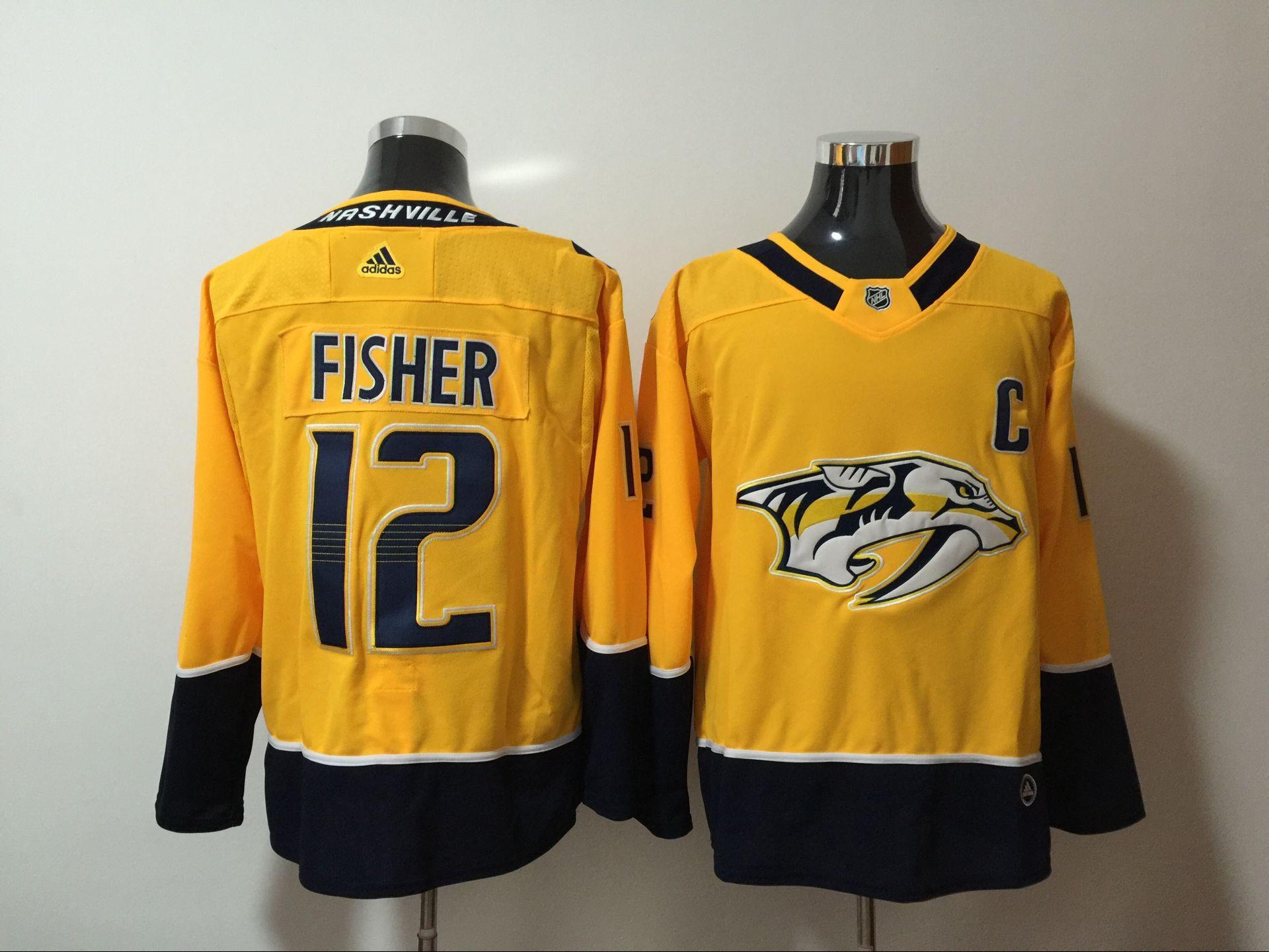 Predators 12 Mike Fisher Yellow Adidas Jersey