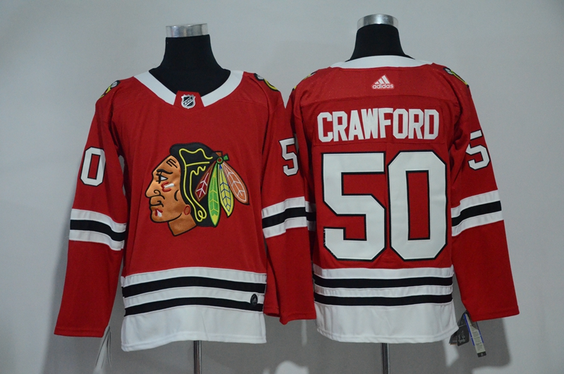 Blackhawks 50 Corey Crawford Red Adidas Jersey