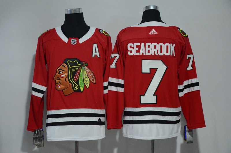 Blackhawks 7 Brent Seabrook Red Adidas Jersey