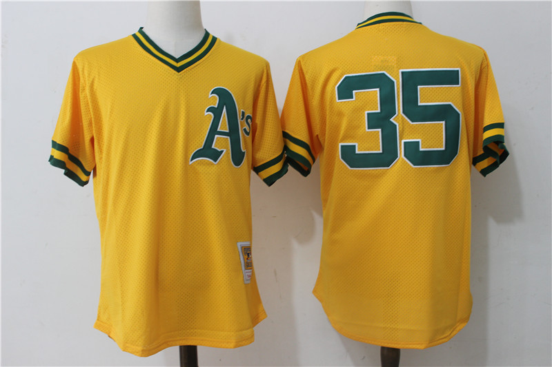 Athletics 35 Rickey Henderson Yellow Cooperstown Collection Batting Practice Jersey