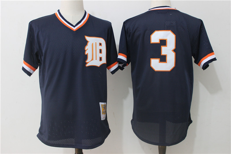 Tigers 3 Ian Kinsler Navy Cooperstown Collection Mesh Batting Practice Jersey