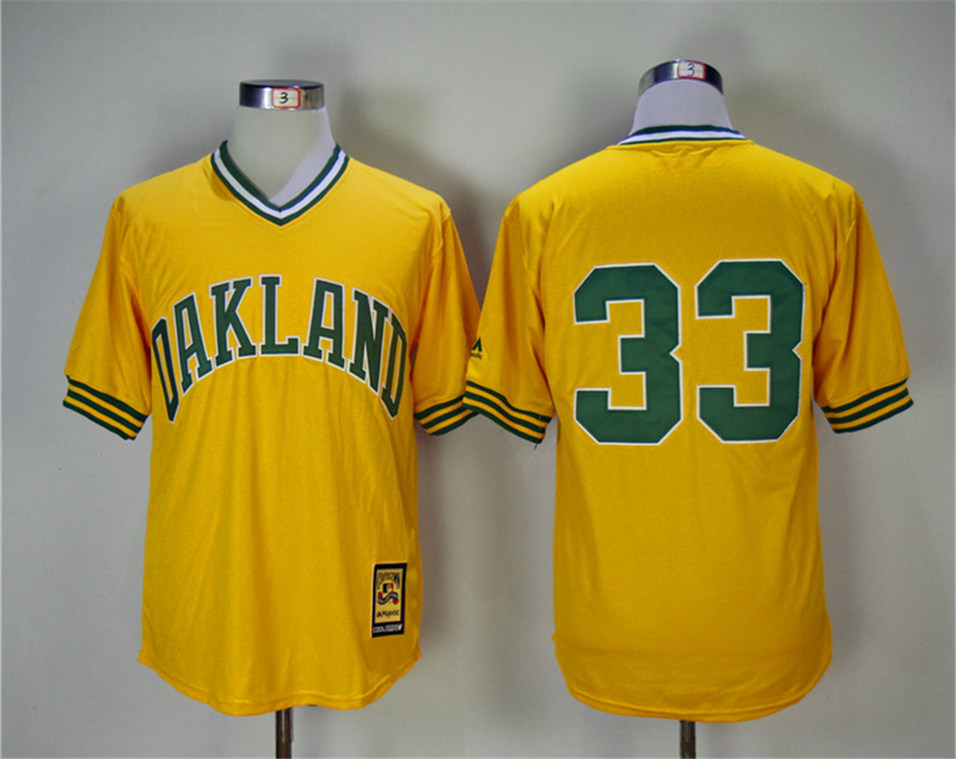 Athletics 33 Jose Canseco Yellow Turn Back The Clock Copperstown Collection Jersey