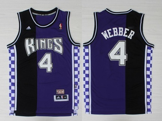 Kings 4 Chris Webber Black And Purple Hardwood Classics Jersey