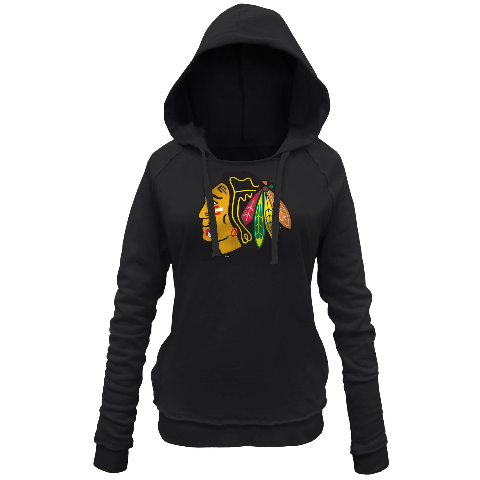 Blackhawks Black Women's Customized All Stitched Hooded Sweatshirt