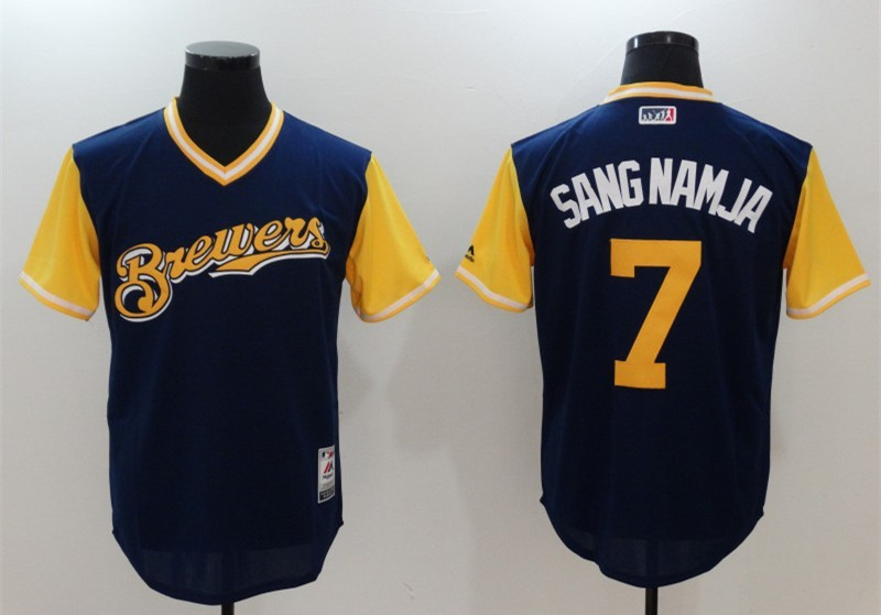 Brewers 7 Eric Thames Sang Namja Majestic Navy 2017 Players Weekend Jersey