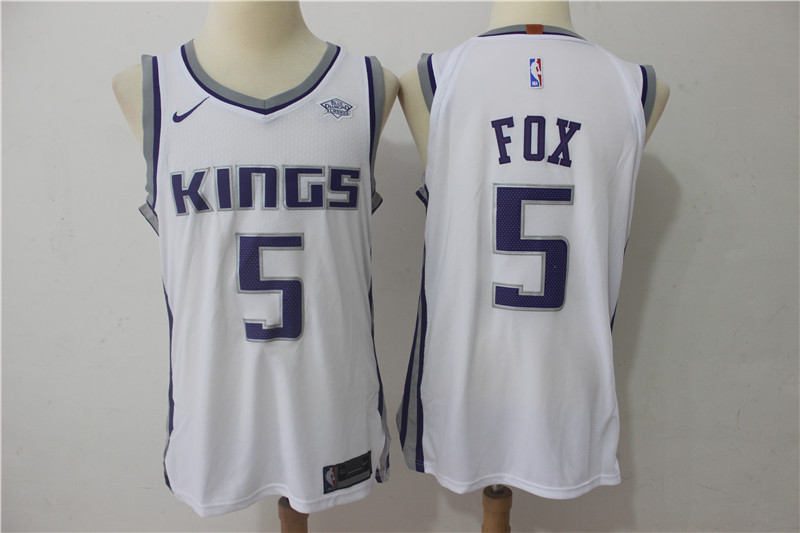 Kings 5 De'Aaron Fox White Nike Authentic Jersey