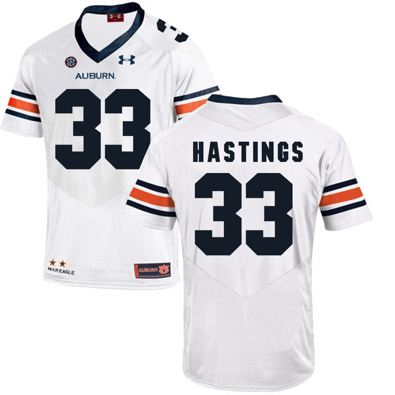 Auburn Tigers 33 Will Hastings White College Football Jersey