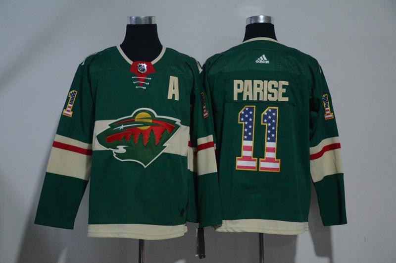 Wild 11 Zach Parise Green USA Flag Adidas Jersey