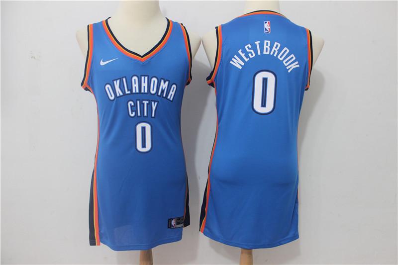 Thunder 0 Russell Westbrook Blue Women Nike Swingman Jersey