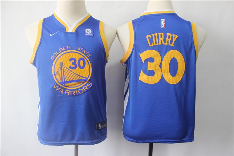Warriors 30 Stephen Curry Blue Youth Nike Swingman Jersey