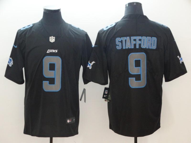 Nike Lions 9 Matthew Stafford Black Impact Rush Limited Jersey