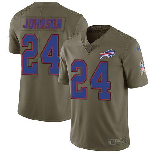 Nike Bills 24 Taron Johnson Olive Salute To Service Limited Jersey
