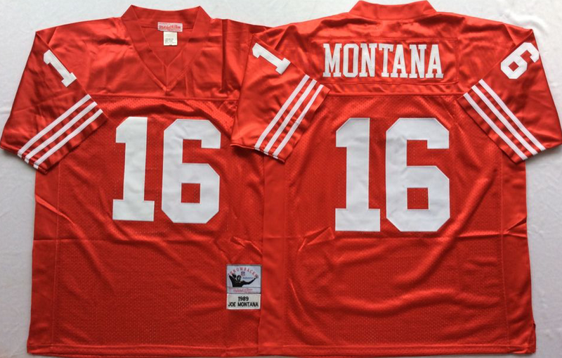 49ers 16 Joe Montana Red M&N Throwback Jersey