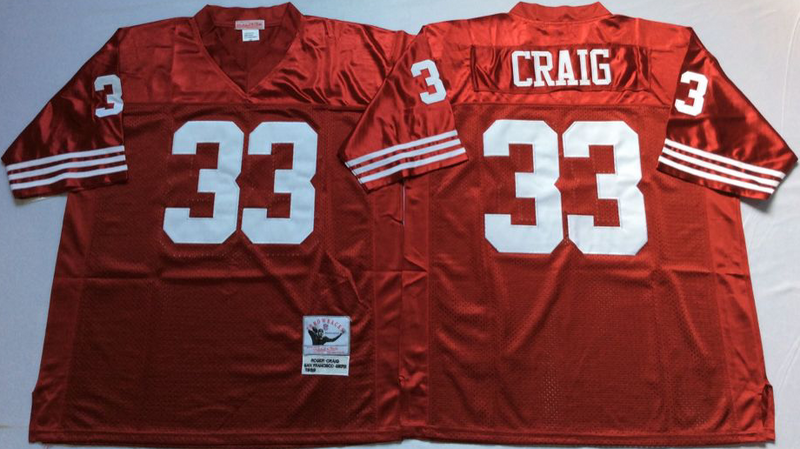 49ers 33 Roger Craig Red M&N Throwback Jersey