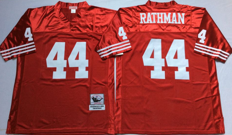 49ers 44 Tom Rathman Red M&N Throwback Jersey