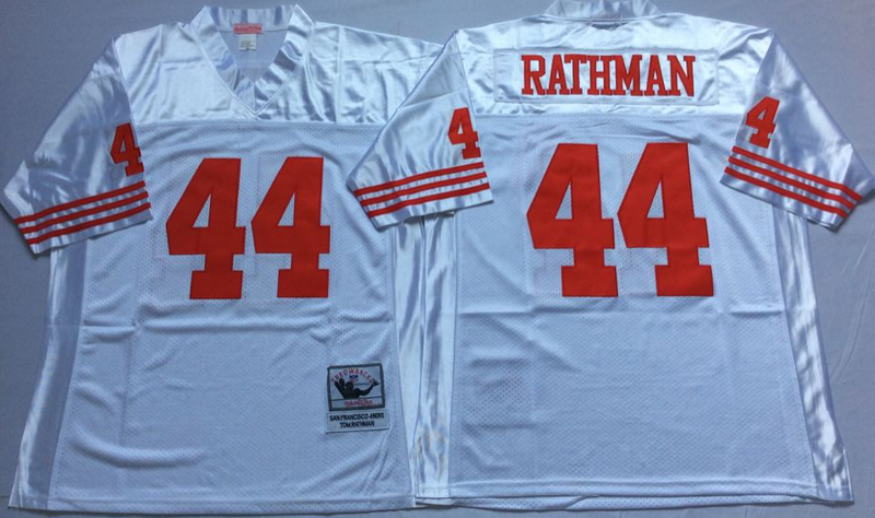 49ers 44 Tom Rathman White M&N Throwback Jersey