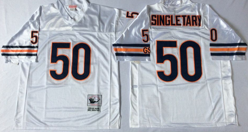 Bears 50 Mike Singletary White M&N Road Throwback Jersey