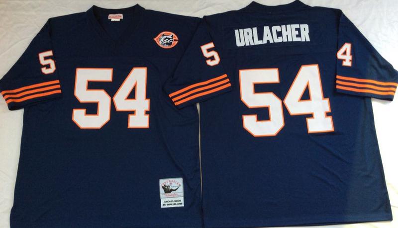 Bears 54 Brian Urlacher Navy M&N Throwback Jersey
