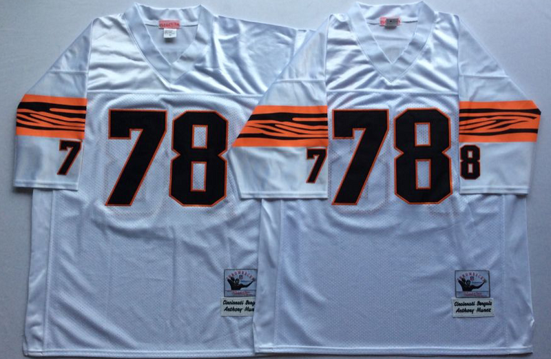 Bengals 78 Anthony Munoz White M&N Throwback Jersey