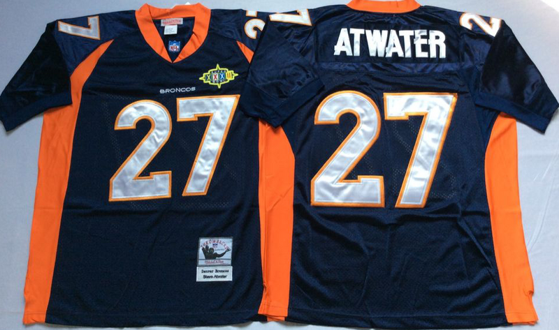Broncos 27 Steve Atwater Navy M&N Throwback Jersey