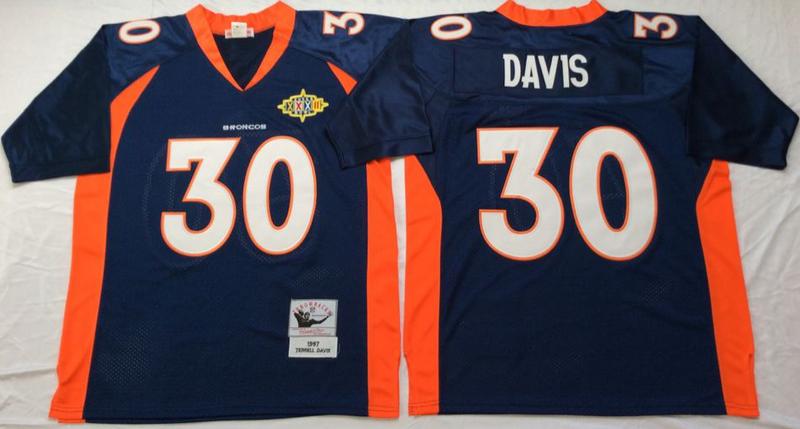 Broncos 30 Terrell Davis Navy M&N Throwback Jersey