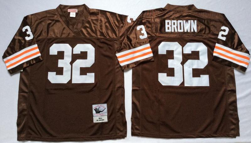 Browns 32 Jim Brown Brown M&N Throwback Jersey