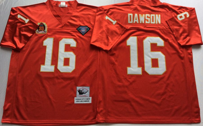 Chiefs 16 Lake Dawson Red M&N Throwback Jersey
