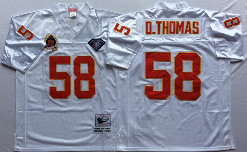 Chiefs 58 Derrick Thomas White M&N Throwback Jersey