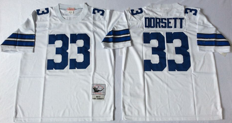 Cowboys 33 Tony Dorsett White M&N Throwback Jersey