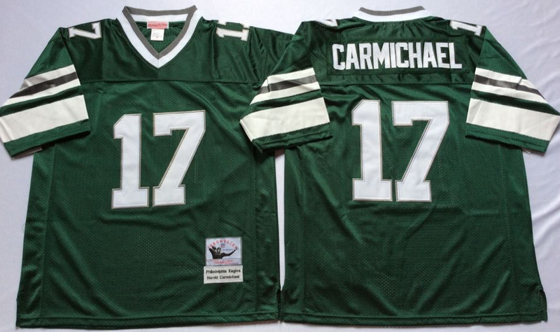 Eagles 17 Harold Carmichael Green M&N Throwback Jersey