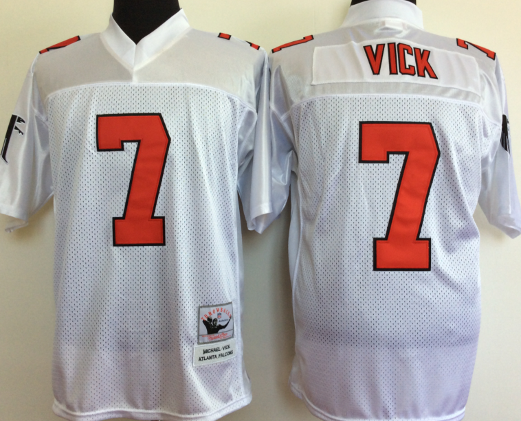 Falcons 7 Michael Vick White M&N Throwback Jersey