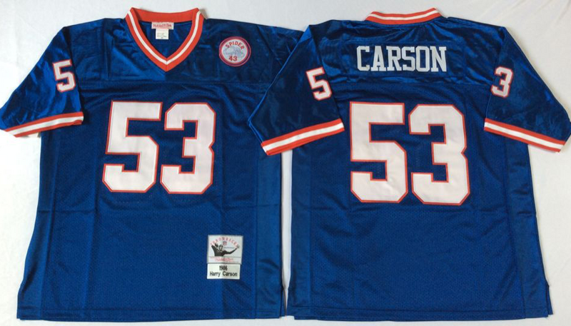 Giants 53 Harry Carson Blue M&N Throwback Jersey