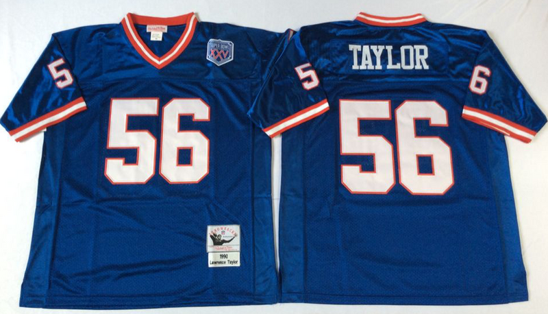 Giants 56 Lawrence Taylor Blue M&N Throwback Jersey