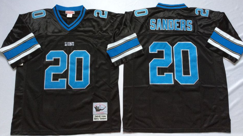 Lions 20 Barry Sanders Black M&N Throwback Jersey