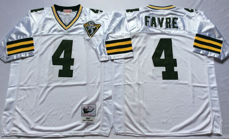 Packers 4 Brett Favre White M&N Throwback Jersey