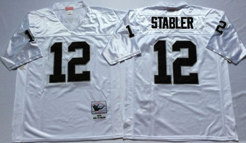 Raiders 12 Ken Stabler White M&N Throwback Jersey
