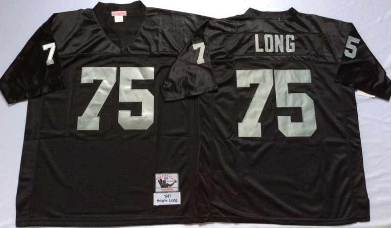 Raiders 75 Howie Long Black M&N Throwback Jersey