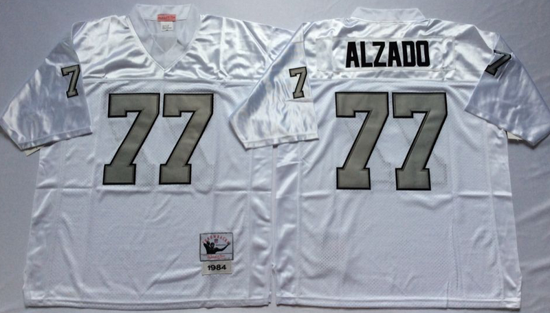 Raiders 77 Lyle Alzado White Silver M&N Throwback Jersey