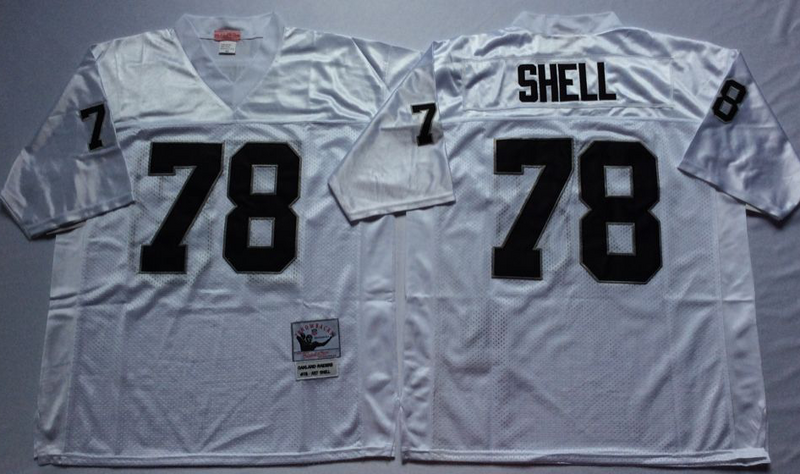 Raiders 78 Art Shell White M&N Throwback Jersey