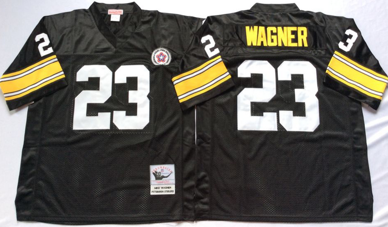 Steelers 23 Mike Wagner Black M&N Throwback Jersey