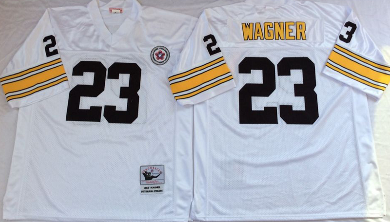 Steelers 23 Mike Wagner White M&N Throwback Jersey