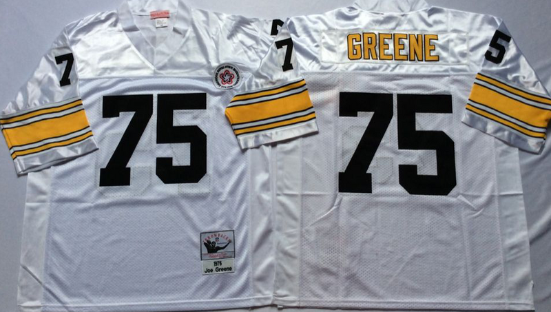 Steelers 75 Joe Greene White M&N Throwback Jersey