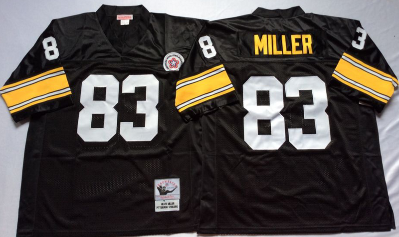 Steelers 83 Heath Miller Black M&N Throwback Jersey