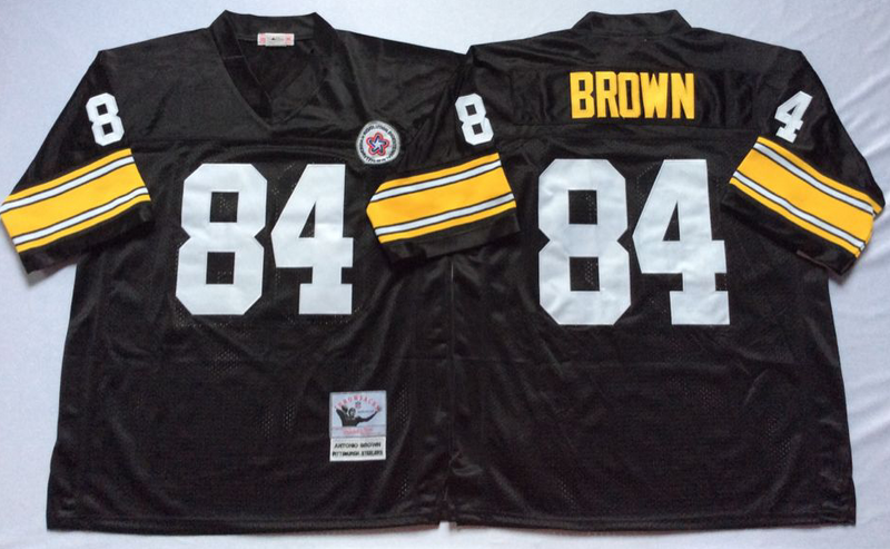 Steelers 84 Antonio Brown Black M&N Throwback Jersey