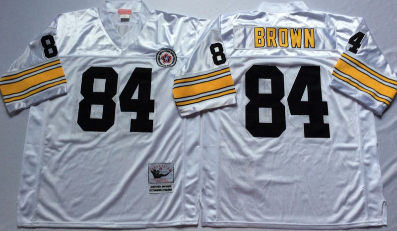 Steelers 84 Antonio Brown White M&N Throwback Jersey