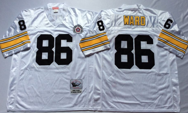 Steelers 86 Hines Ward White M&N Throwback Jersey