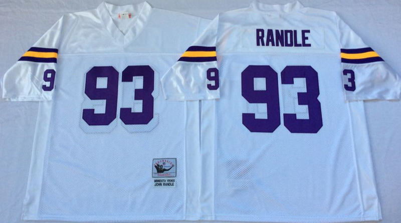Vikings 93 John Randle White M&N Throwback Jersey