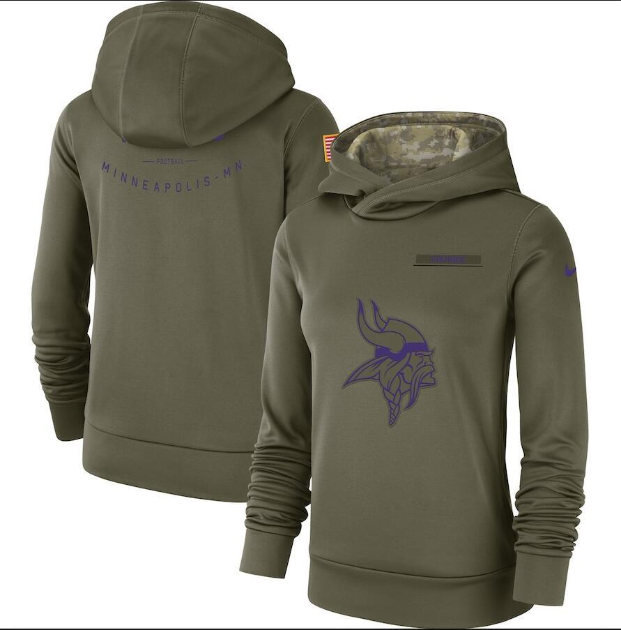Minnesota Vikings Nike Women's Salute to Service Team Logo Performance Pullover Hoodie Olive