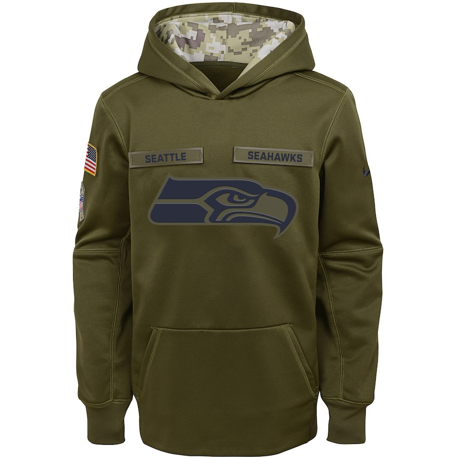 Seattle Seahawks Nike Youth Salute to Service Pullover Performance Hoodie Green